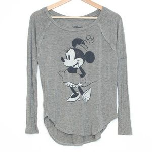 Disney Gray Minnie Mouse Long Sleeve Womens XS BM